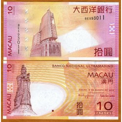 . CHINA MACAO 10 PATACAS 2015 ZODIACO Pick New SC BILLETE UNC