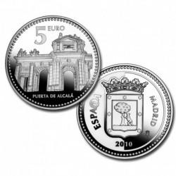 ESPAÑA 5 EUROS 2010 PLATA 10 CIUDAD de MADRID