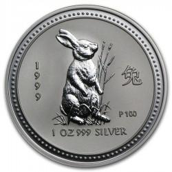 AUSTRALIA 1 DOLAR 1999 CONEJO I SERIE LUNAR PLATA SILVER DOLLAR