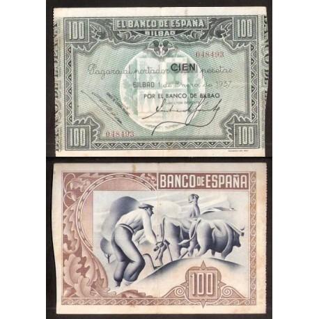 BILBAO EUSKADI 100 PESETAS 1937 BANCO DE BILBAO 048493 BILLETE MBC+ EUZKADI PICK S.565