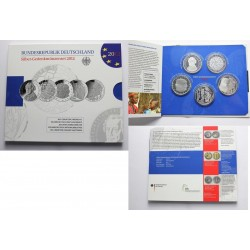 . ALEMANIA 10€ EUROS 2012 A+D+F+G+J PLATA PROOF SILVER BRD