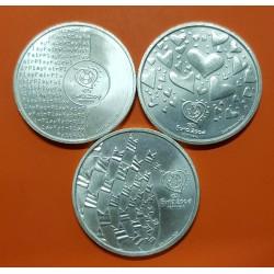 PORTUGAL 8 EUROS 2003 x3 coins EUROCOPA SILVER UNC
