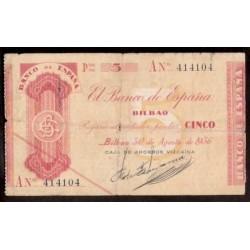 1936 EUSKADI 5 PESETAS CAJA AHORROS VIZCAINA Serie A 414104