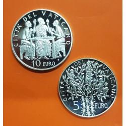 SAN MARINO 5€ + 10€ EUROS 2004 PLATA FUTBOL ALEMANIA SILVER