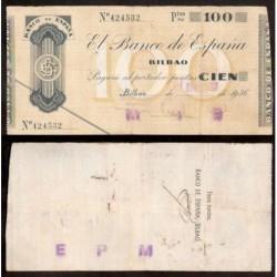 BILBAO 100 PESETAS 1936 CAJA DE AHORROS y MONTE DE PIEDAD SIN SERIE 424532 Pick S555 GOBIERNO DE EUSKADI BILLETE GUERRA CIVIL