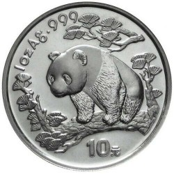 CHINA 10 YUAN 1997 OSO PANDA PLATA SC SILVER UNC Silber 1 Oz