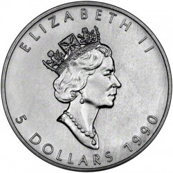 CANADA 5 DOLARES 1990 HOJA DE ARCE PLATA PURA SC SILVER DOLLAR