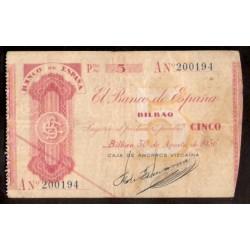 1936 EUSKADI 5 PESETAS CAJA AHORROS VIZCAINA Serie A 200194