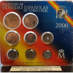 ESPAÑA 2000 CARTERA FNMT SERIE 1+5+10+25+50+100+200+500 PESETAS