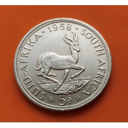 SUDAFRICA 5 SHILLINGS 1958 ANTILOPE y REINA ISABEL II KM.52 MONEDA DE PLATA MBC- South Africa