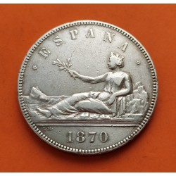 ESPAÑA 5 PESETAS 1870 * 18 70 SNM GOBIERNO PROVISIONAL DAMA SENTADA KM.655 MONEDA DE PLATA (MUESCAS DURO) Spain silver R/3