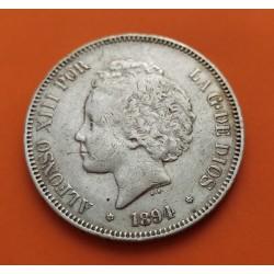 """ESPAÑA 5 PESETAS 1894 * 18 94 PGV REY ALFONSO XIII tipo """"RIZOS"""" KM.700 MONEDA DE PLATA (DURO) Spain silver R/3"""