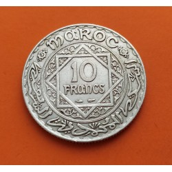 MARRUECOS 10 FRANCOS 1934 AH1352 ESTRELLA DE MOHAMMED V y VALOR KM.8 MONEDA DE PLATA EBC- Morocco