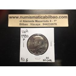 ESTADOS UNIDOS 1/2 DOLAR 1980 P KENNEDY KM.A202B MONEDA DE NICKEL SC USA HALF DOLLAR