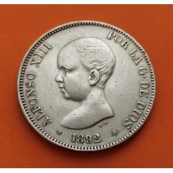 "ESPAÑA 5 PESETAS 1892 * 18 92 PGM REY ALFONSO XIII tipo ""PELON"" KM.689 MONEDA DE PLATA (DURO) Spain silver 3"