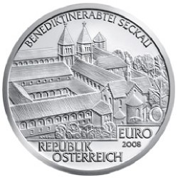 AUSTRIA 10 EUROS 2008 ABADIA BENEDIKTINER SECKAU PLATA SILVER