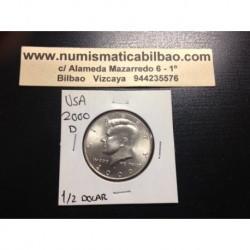 ESTADOS UNIDOS 1/2 DOLAR 2000 D KENNEDY KM.A202B MONEDA DE NICKEL SC USA HALF DOLLAR