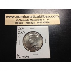 ESTADOS UNIDOS 1/2 DOLAR 2005 D KENNEDY KM.A202B MONEDA DE NICKEL SC USA HALF DOLLAR