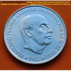 .ESPAÑA 100 PESETAS 1966 * 19 66 FRANCO SIN CIRCULAR PLATA