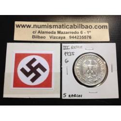 ALEMANIA 5 MARCOS 1935 G CANCILLER HINDENBURG AGUILA SIN ESVASTICA NAZI III REICH MONEDA DE PLATA REICHSMARK