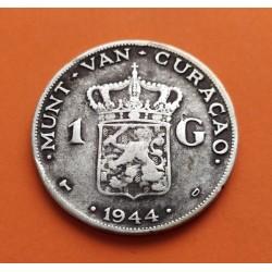 . CURACAO 1 GULDEN 1944 WILHELMINA PLATA EBC- HOLANDA KM 45