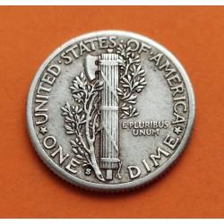USA 10 CENTS DIME 1944 D MERCURY SILVER VF