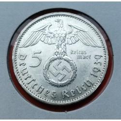 ALEMANIA 5 MARCOS ESVASTICA NAZI 1936 A PLATA III REICH @LUJO@