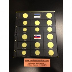 HOJA PARDO para alojar 2 SERIES de 8 MONEDAS EUROS modelo 755 NEGRO 2 Países