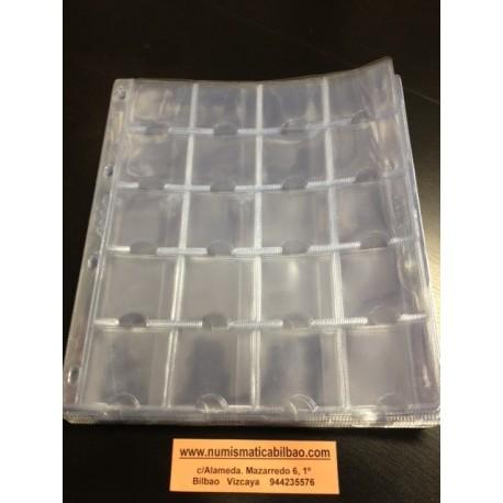 HOJA DE PLASTICO para MONEDAS de 20 ESPACIOS compatible con ALBUM GRANDE DE 4 ANILLAS (Sistema de cartones) JLL