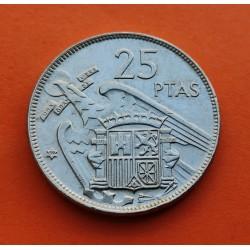 ESPAÑA 25 PESETAS 1957 * 59 FRANCO SIN CIRCULAR NICKEL SI PLUS