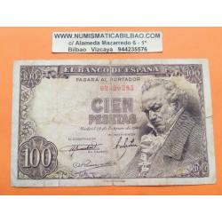 ..ESPAÑA 100 PESETAS 1946 FEBRERO 19 GOYA Serie B572 EBC+ Doblez