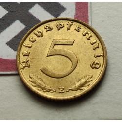 GERMANY DRITTES REICH 5 REICHSPFENNIG 1938 E BRASS VF++