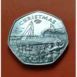 GIBRALTAR 50 PENIQUES 1989 CHRISTMAS KM*31 NICKEL PROOF 50 Pence