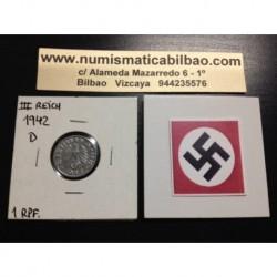 ALEMANIA 1 REICHSPFENNIG 1942 D ESVASTICA NAZI III REICH MONEDA DE ZINC