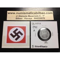 ALEMANIA 5 REICHSPFENNIG 1941 A ESVASTICA NAZI III REICH MONEDA DE ZINC