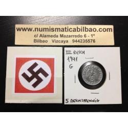 ALEMANIA 5 REICHSPFENNIG 1941 G ESVASTICA NAZI III REICH MONEDA DE ZINC