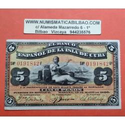 ESPAÑA 5 PESOS 1896 BANCO ESPAÑOL ISLA DE CUBA 0242518F SC+