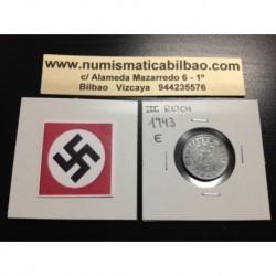 DITTRES REICH GERMANY 5 REICHSPFENNIG 1943 E SWASTIKA NAZI ZINC