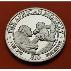 SOMALIA 10 DOLARES 1998 MONOS PLATA SILVER UNC 1 Oz Dollar