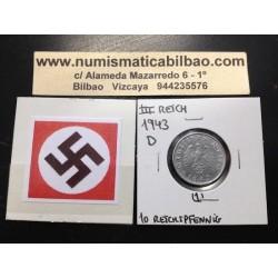 ALEMANIA 10 REICHSPFENNIG 1943 D ESVASTICA NAZI III REICH MONEDA DE ZINC