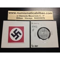 DITTRES REICH GERMANY 10 REICHSPFENNIG 1943 F SWASTIKA NAZI ZINC