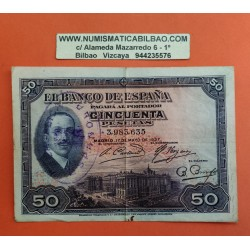 50 PESETAS 1927 ALFONSO XIII SIN SERIE 844 ESPAÑA + SELLO REPUBL