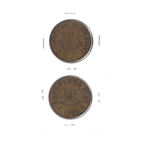 FICHA COOPERATIVA BARCELONA LA ANDRESENSE 10 CENTIMOS 1929 EBC-