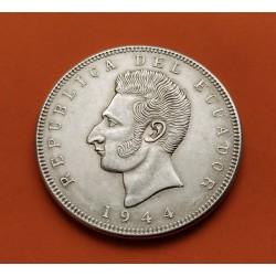 . ECUADOR 5 SUCRES 1943 Ceca Mexico PLATA EBC+ KM*79 Silver
