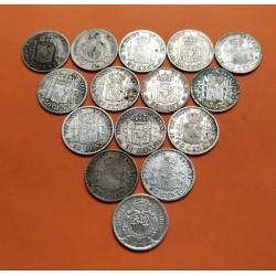 15 monedas x ESPAÑA 50 CENTIMOS 1880+1892+1894+1900+1904+1910+1926 ALFONSO XII y XIII PLATA CIRCULADAS R/2