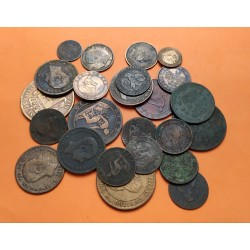 24 monedas x ESPAÑA 1+2+5+10 CENTIMOS 1870+1877+1878+1904+1905+1911+1912 COBRE