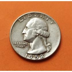 ESTADOS UNIDOS 1/4 DOLAR 1958 D PRESIDENTE GEORGE WASHINGTON KM.164 MONEDA DE PLATA MBC++ USA silver Quarter Dollar