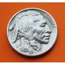ESTADOS UNIDOS 5 CENTAVOS 1929 BUFFALO e INDIO NATIVO KM.134 MONEDA DE NICKEL MBC USA 5 Cent coin