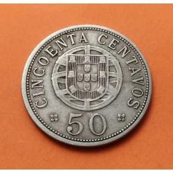 ANGOLA 50 CENTAVOS 1927 DAMA NICKEL MBC KM.69 AFRICA PORTUGAL