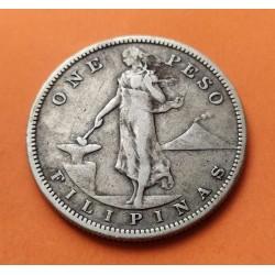 FILIPINAS 1 PESO 1908 S DAMA y ESCUDO AMERICANO KM.172 MONEDA DE PLATA MBC+ Ocupacion ados Unidos Dolar PHILIPPINES